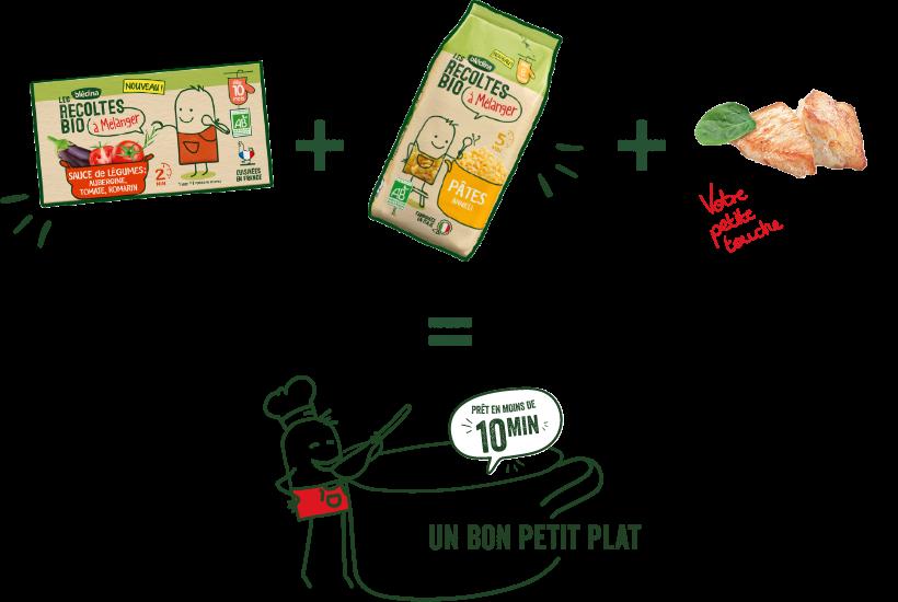 illustration recettes récoltes bio à mélanger