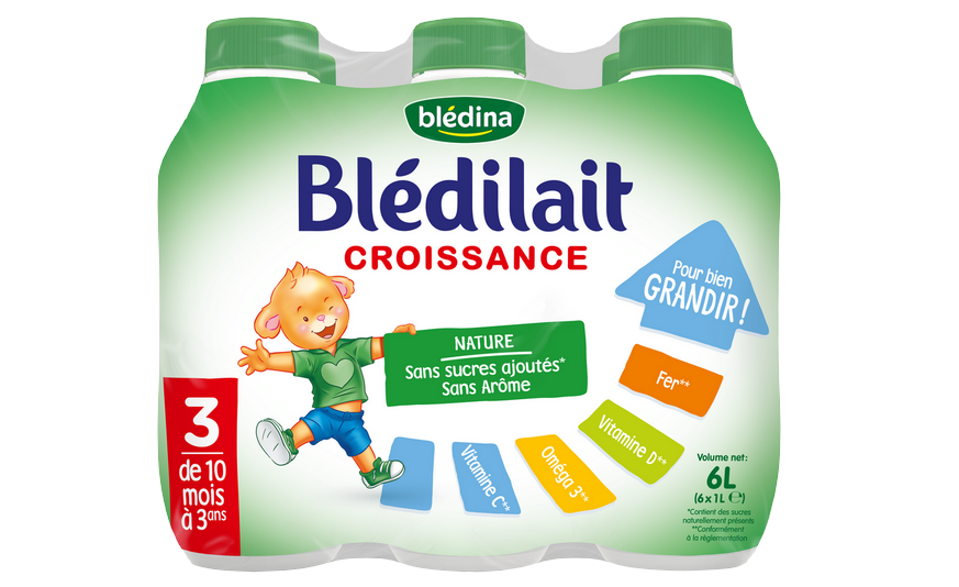 30 cl de Blédilait Croissance Nature Liquide 6x1L