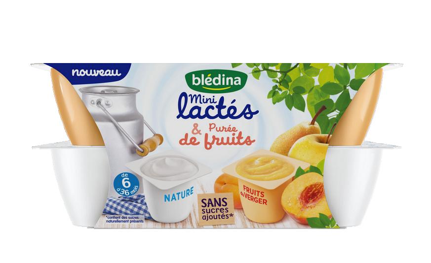 1 pack de  Mini Lactés Nature sans sucre et Purée de fruits du verger