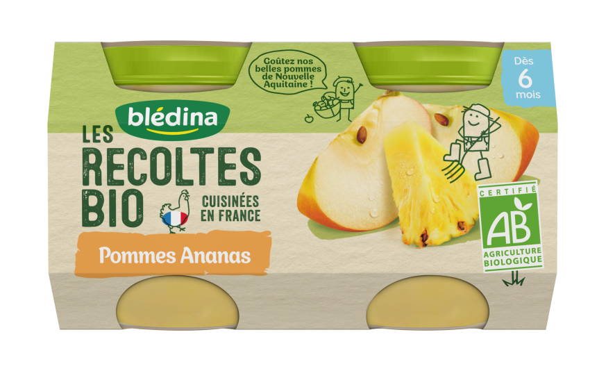 1 pot Les Récoltes Bio Pots Pommes Ananas