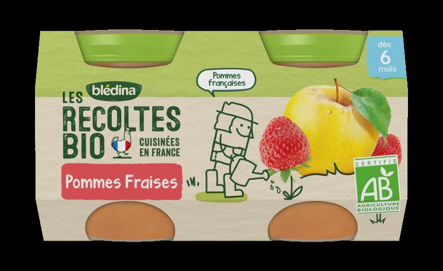 1/2 Les Récoltes Bio Pots Pommes Fraises