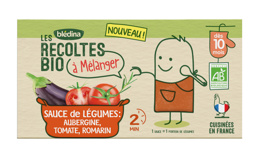 1 brique Les Récoltes Bio à mélanger Sauce Aubergine, Tomate, Romarin
