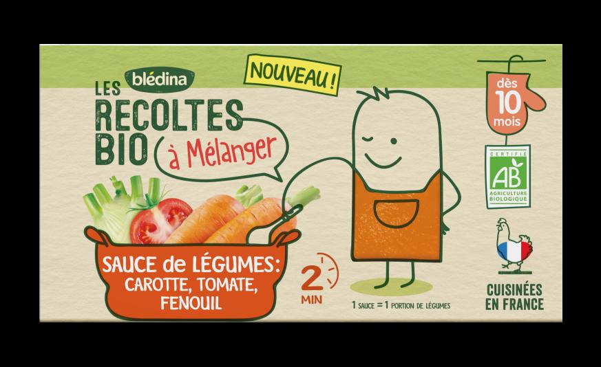 2 briques Les Récoltes Bio à mélanger Sauce Carotte, Tomate, Fenouil