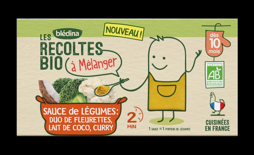 1 u Les Récoltes Bio à mélanger Sauce Duo de fleurettes Lait de coco Curry