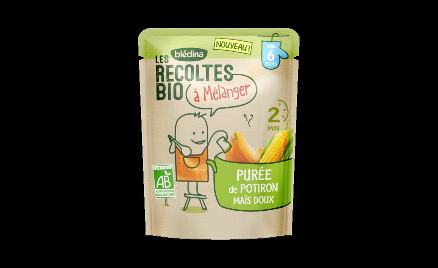 1 sachet Les Récoltes Bio à mélanger Purée de Potiron Maïs doux