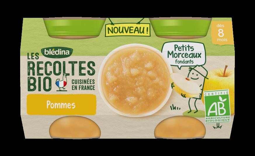 1 u Les Récoltes Bio Purée de fruits avec petits morceaux fondants Pommes 2x130g