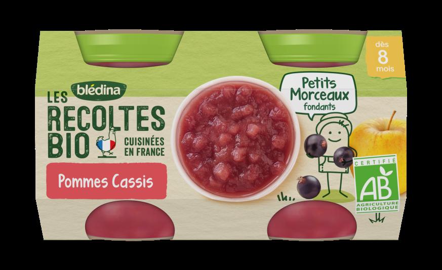 1 u Les Récoltes Bio Purée de fruits avec petits morceaux fondants Pommes Cassis 2x130g