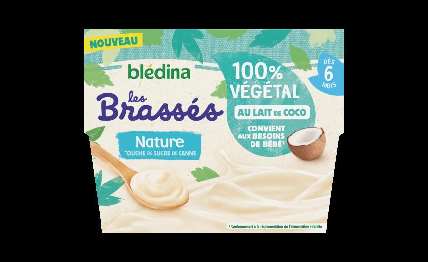 1 u Les brassés 100% végétal Nature touche de sucre de canne au lait de coco